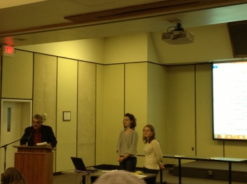 Dr. Pitts, Nicole, and Rebecca open the volunteer's training session.